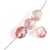 Fire polished 8mm Crystal/pink Strung